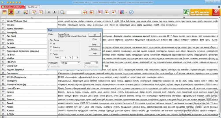 Microsoft Excel Viewer - Скриншот 3
