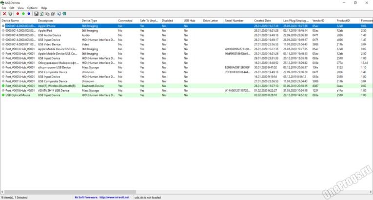USBDeview - Скриншот 1